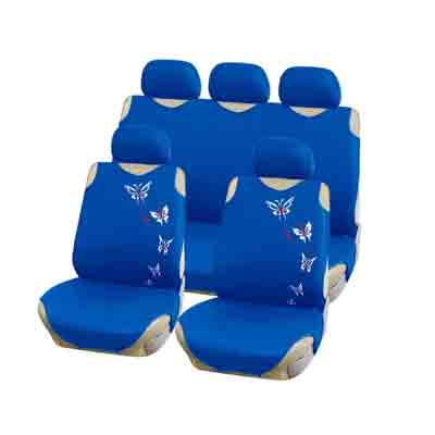768-736 NEW GALAXY Чехлы автомобильные универ. 9 пр., тип майка, ПЭ, поролон 2мм, синий-бабочки, 6218