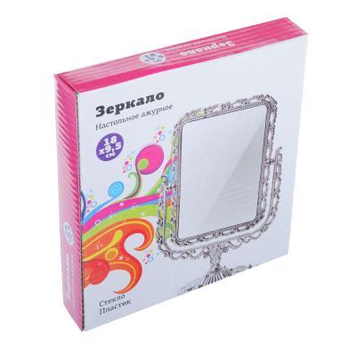 301-221 Зеркало настольное ажурное, пластик, 18х9,5 см, 3 цвета