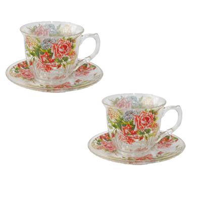 802-632 Набор чайный 4 пр. Флоренс 230 мл, стекло, подар.уп 10GF114-2V-2