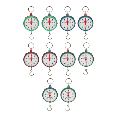 487-006 Безмен круглый, нагрузка до 10кг, пластик, 3 цвета,арт.СХ-149