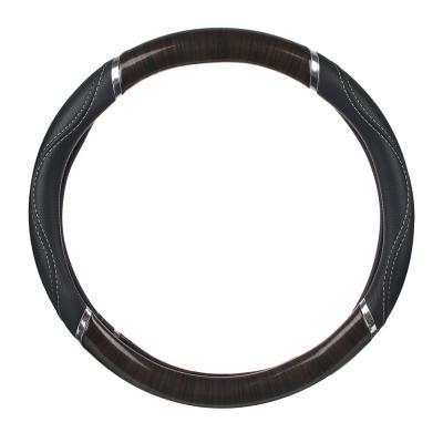 """708-002 NEW GALAXY Оплетка руля, экокожа, со вставками """"дерево"""", черный, разм. (M) CB1201003BK"""
