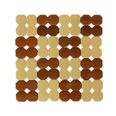 """888-010 Подставка под горячее бамбук """"Клетка"""" 14x14см GD007-1"""