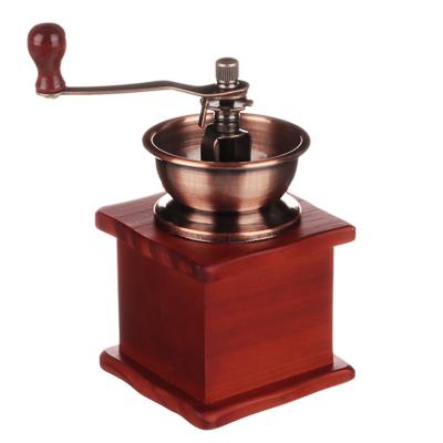 827-001 Кофемолка с деревянным основанием, металл, 10x10x17,5см