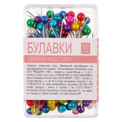 308-058 Набор булавок 100шт в пластиковой коробке, металл