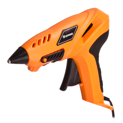 646-159 ЕРМАК Пистолет клеевой электр. ПК-16Л, 16 Вт.нагрев 3-5 мин,10 гр/мин, LEDподсветка,+6 стержней 11мм