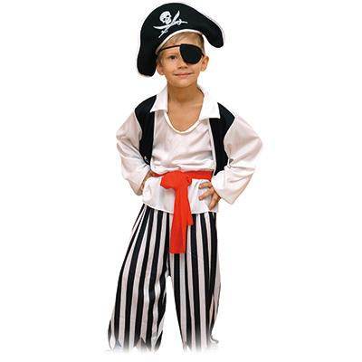 """389-180 Костюм карнавальный шляпа, """"Пират"""" повязка, рубашка, пояс, штаны, рост 122см, полиэстер"""