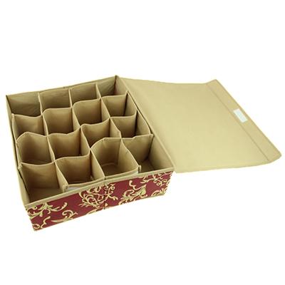 "457-043 VETTA Кофр-короб жесткий для мелочей, 16 ячеек, нетканый материал, ""Английский стиль"", 34х30х10см"