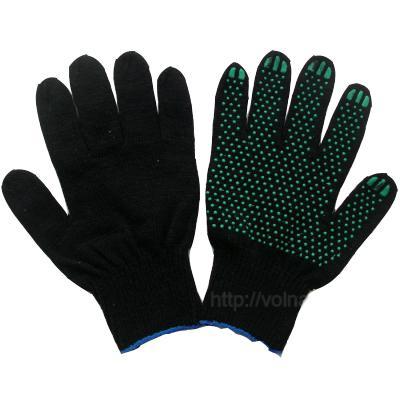 446-015 Перчатки вязаные х/б с ПВХ напылением 10класс черные