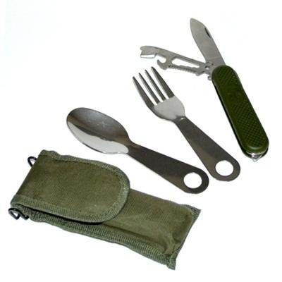 333-526 Набор туриста в чехле (вилка, ложка, нож+открывашка) 3 пр