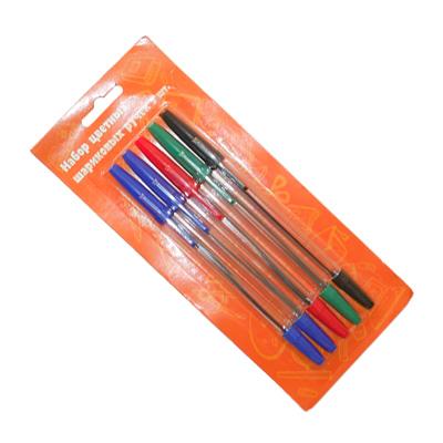 525-020 Набор ручек шариковых 5шт, цветные, в блистере, WKX 0022