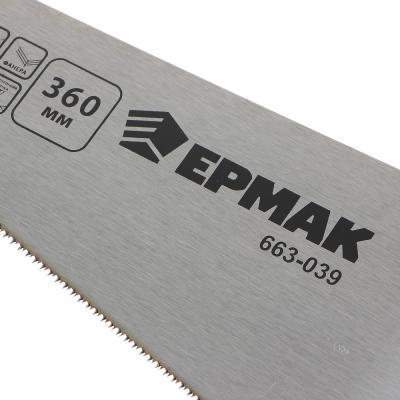 663-039 ЕРМАК Ножовка по ламинату, 360мм, закаленный зуб, двухстор заточка,(чистый пропил,16 зубьев на дюйм)