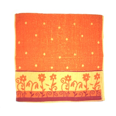 484-147 VETTA Полотенце банное, 100% хлопок, 50x100см, Flower field оранжевое арт FBS285-2