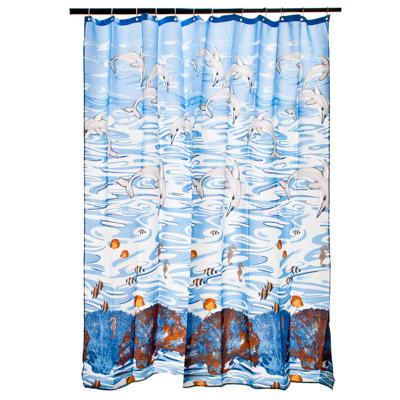 """461-009 VETTA Шторка для ванной, ткань полиэстер с утяжелит, 180x180см, """"Дельфины"""" арт YQL-1043"""
