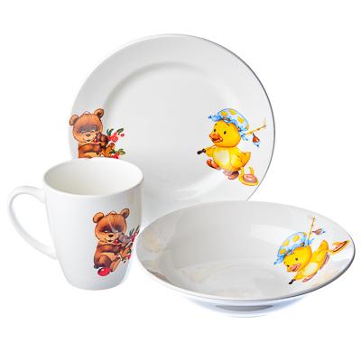 829-013 Набор детский 3пр Утенок, медвежонок (миска 175мм, тарелка 175мм, кружка 200мл) 0839