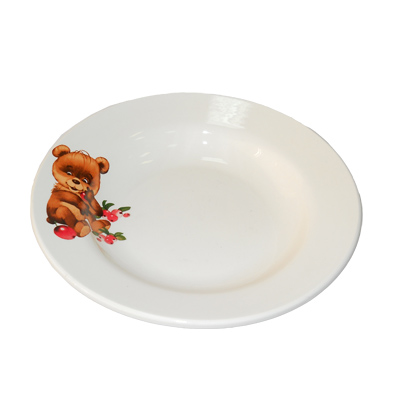 814-130 Утенок/Медвежонок Тарелка глубокая 20см, 450мл, фаянс, 055