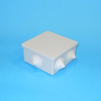 901-008 Коробка распаячная для открытой проводки 85х85х40мм IP44 (RAL7035, 6 гермовводов), UKO11-085-085-040
