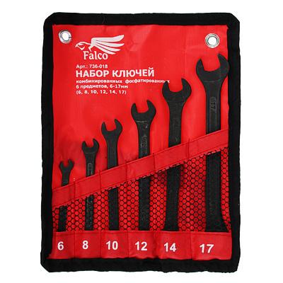 736-018 FALCO Набор ключей комб. фосфат. в сумке 6 пр., 6-17мм (6, 8, 10, 12, 14, 17)