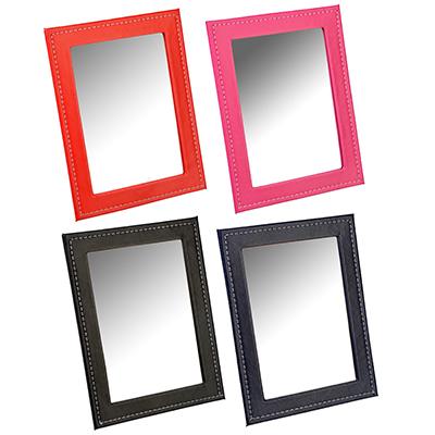 301-031 Зеркало настольное прямоугольное, искусств.кожа, 18,5х23,3см, 4 цвета, А5221