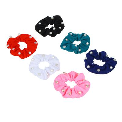 356-297 Резинка для волос бархат с камнями, полиэстер, d7 см, 6 цветов