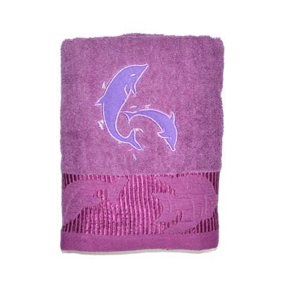 484-241 VETTA Полотенце банное, 100% хлопок, 50x100см, Флиппер фиолетовое