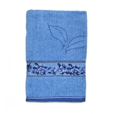 484-247 VETTA Полотенце банное, 100% хлопок, 50x100см, Флора голубое