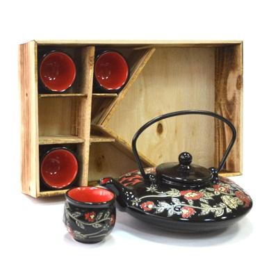 """802-055 Набор для чайной церемонии 5 пр. (чайник + 4 кружки), """"Цветы"""" красный, черный HCLD-CJ003-004AB"""
