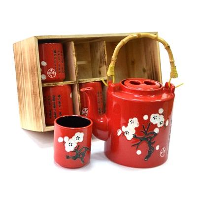 """802-056 Набор для чайной церемонии 5 пр. (чайник + 4 кружки), """"Сакура"""" красный, черный, HCLD-CJ-S04CD"""