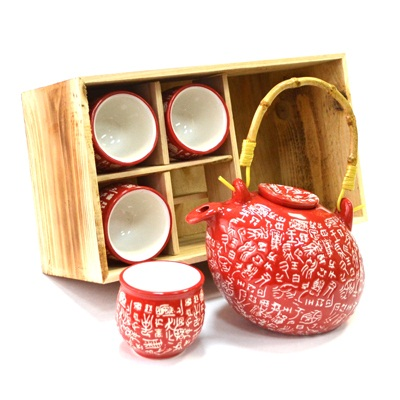 """802-057 Набор для чайной церемонии 5 пр. (чайник + 4 кружки), """"Иероглиф"""", красный, черный HCLD-CJ-S05AB"""
