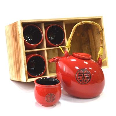 """802-062 Набор для чайной церемонии 5 пр. (чайник + 4 кружки), """"Печать"""", красный, HCLD-CJ-S05"""