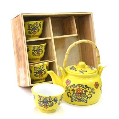 """802-064 Набор для чайной церемонии 5 пр. (чайник + 4 кружки), """"Орнамент"""" желтый HCLD-CJ-S010"""