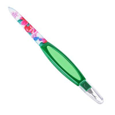 305-016 Пилка для ногтей металлическая с триммером, пласт.ручка, 16см, 3 цвета