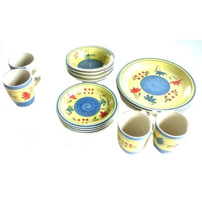 818-001 Набор посуды 16 пр.(керамика) Летняя симфония - желтый
