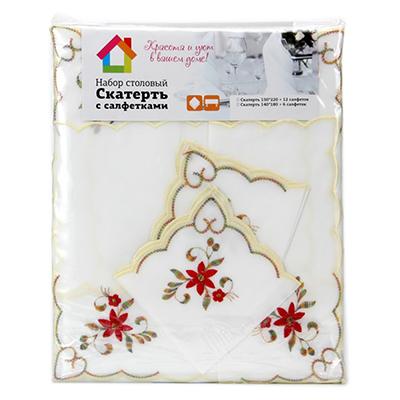 436-011 Комплект: скатерть на стол с вышивкой 140x180см, 6 салфеток, полиэстер