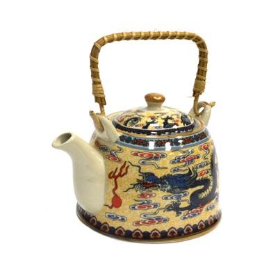 """802-067 Чайник заварочный керамика, 900мл, с ситечком и бамбуковой ручкой """"Восточный дракон"""""""