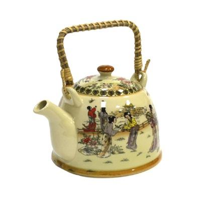 """802-068 Чайник заварочный керамика, 900мл, с ситечком и бамбуковой ручкой """"Восточные красавицы"""""""