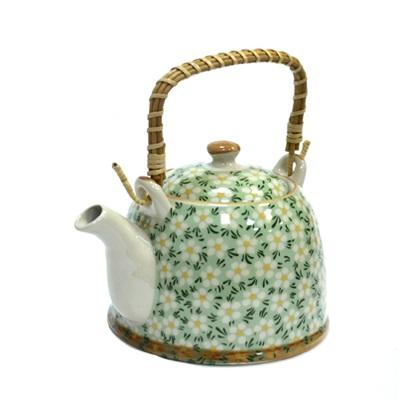"""802-072 Чайник заварочный керамика, 900мл, с ситечком и бамбуковой ручкой """"Ромашки"""""""