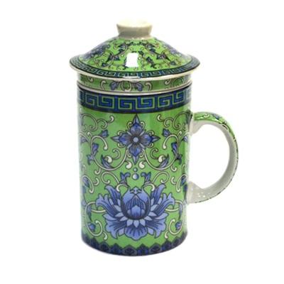 """806-086 Кружка заварочная 300мл, керамика, с керам ситом, """"Восточный орнамент"""", 4 цвета"""