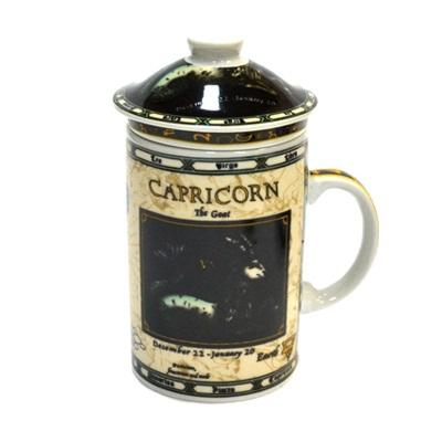 """806-089 Кружка заварочная 300мл, керамика, с керам ситом, """"Гороскоп"""", 12 цветов"""