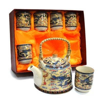 """802-382 Набор для чайной церемонии 7 пр. (чайник 700мл + 6 чашек 160мл), керамика, """"Восточный дракон"""""""