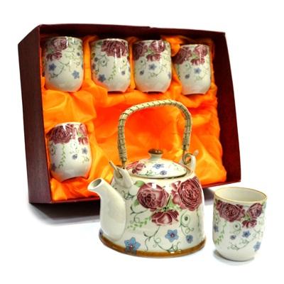 "802-384 Набор для чайной церемонии 7 пр. (чайник 700мл + 6 чашек 160мл), керамика, ""Роза"" подар.уп"