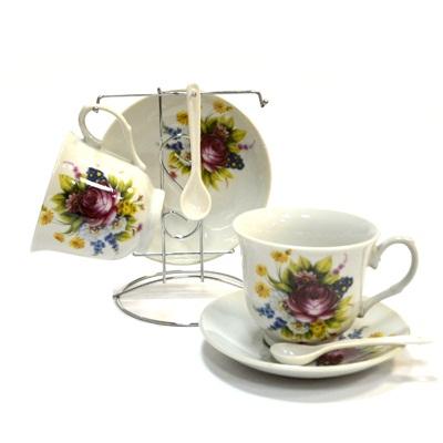 802-409 Набор чайный 6 пр. Цветы на мет. подставке 206-6, микс деколей