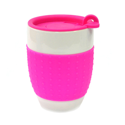 806-100 Кружка 400мл, с крышкой, силиконовая оболочка, Bistro розовая