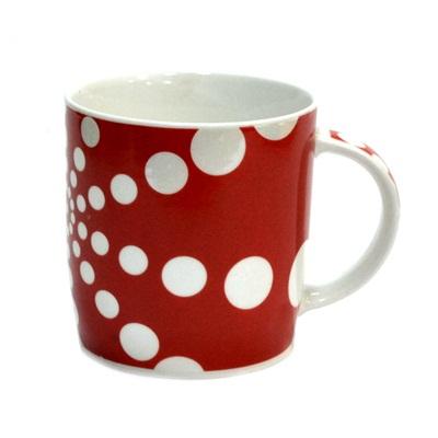 806-135 Кружка 350мл, фрф, Polka Dot красная mix 4