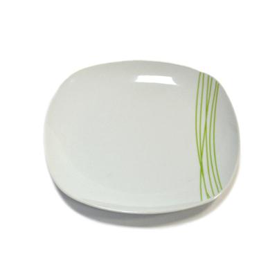 816-159 Тарелка десертная 20см, белая с зелеными полосками, квадр. 28B017-G