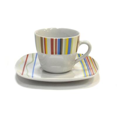 """802-420 Набор чайный 12 пр. """"Разноцветные полоски"""" квадрат фрф. (чашки 220мл*6шт, блюдца 6шт), 25278"""