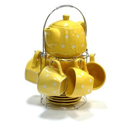 802-431 Набор чайный 13 пр. Горошек, желт., метал.подставка, керамика