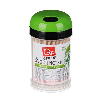 437-010 GRIFON Зубочистки из дерева 200шт, в пластиковой баночке, 400-003