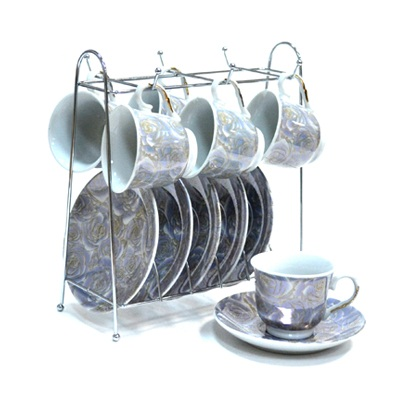 802-453 Набор чайный 12 пр. 120мл на металл. стойке арт.А1114-С