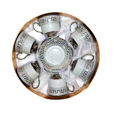 "802-455 Набор чайный 12 пр. ""Греческий орнамент"" серебро 220мл арт. AB402BS"