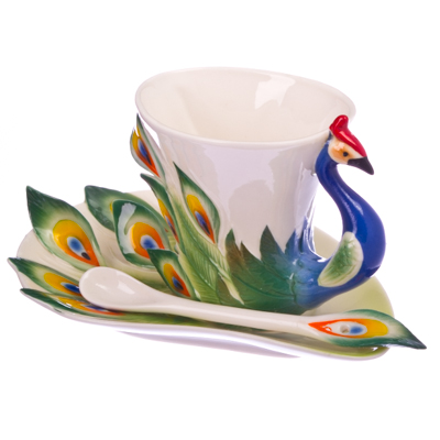 """802-528 Набор чайный 3 пр. (чашка 160мл, блюдце, ложка), фрф, """"Райская птица"""""""